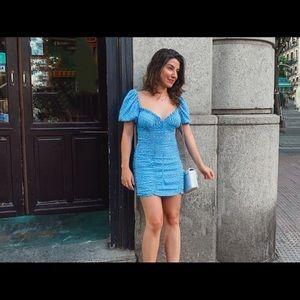 Zara Dresses - Zara polka dot mini dress blue white bloggers NWT